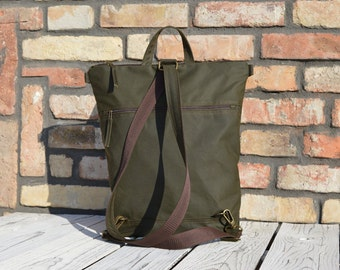 Forest Green Waxed Canvas Vegan Backpack, Olive green Unisex Rucksack, Functional Water Repellent Laptop Carrier, School Backpack