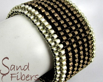 WIDE Silver-Rimmed Chunky Serendipity in Bronze Peyote Cuff (2620) - A Sand Fibers Made-to-OrderCreation