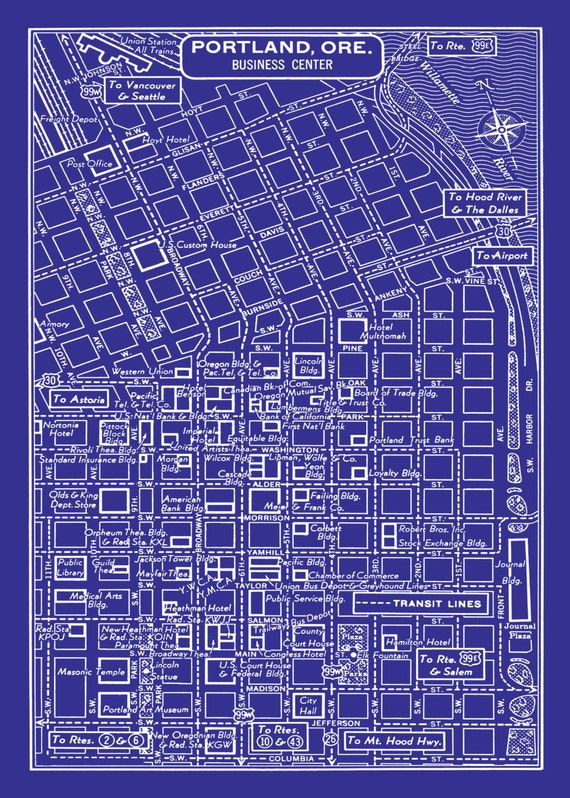 1949 vintage map of downtown portland oregon blueprint map like this item malvernweather Choice Image