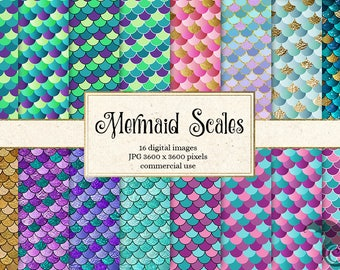 Mermaid Scales Digital paper, mermaid tail shimmer textures, scale patterns, invitation backgrounds, nautical printable scrapbook paper