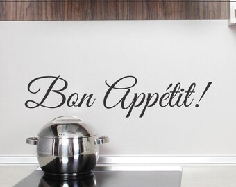 Dining Room Wall Decor - Bon Appetit Wall Decal - Kitchen Wall Decal - Bon Appetit Decal - Dining Room Decal - Removable Vinyl Lettering