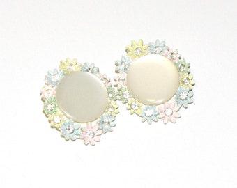 Vintage Spring Flower Pastel Rhinestone Clip On Earrings, Clip On Springtime Easter Gardener Earrings, Vintage Clip On Pearl Earring Studs