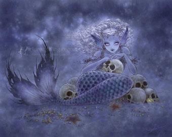 Free Shipping to US - Goth Mermaid with Skulls - A Dark Undercurrent - 10x8 Macabre Fantasy Art Print - by Mitzi Sato-Wiuff