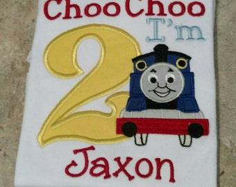 Choo Choo I'm two. Train embroidered birthday shirt