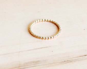 R1081 - 12/20 Gold Filled Beaded Stacking Dainty Ring