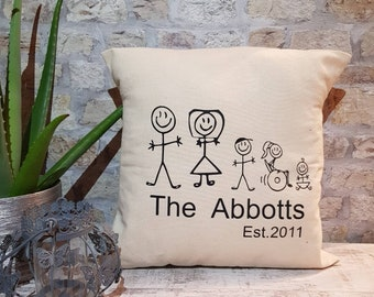 Personised cushion, stick figures, gift for home, couple, gift for her, gift for him, cushion.