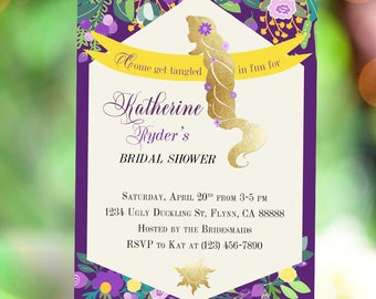 Princess Rapunzel Tangled Bridal Shower Golden Hair Flower Silhouette Invitation DIY