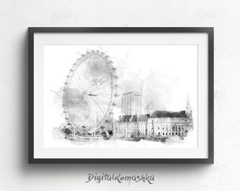 London print, london poster, london wall art, architectural drawing, london art print, london skyline, london illustration, london cityscape
