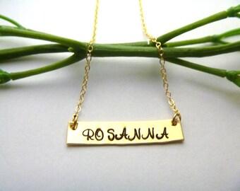 Gold Bar Necklace - Nameplate Bar - Blank Bar Necklace - Silver Layered Necklace - Layering Necklace