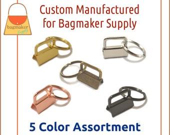 "1 Inch Deluxe Key Fob Hardware 5 Color Assortment, 1"", Purse Handbag Hardware Jewelry Craft Supply, KRA-AA016"