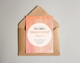 Coral Watercolour Engagement OR Wedding Invitation