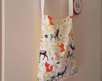 Forest Animals - Farmers Market Tote, Beach Bag, Grocery Bag, Fresh Produce Bag, Knitting Bag, Reusable, Ecofriendly, Handmade