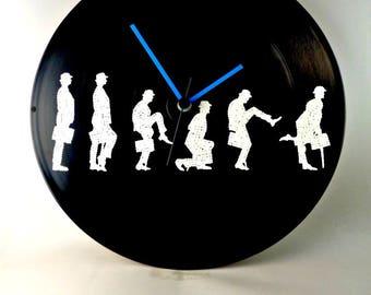 Monty Pythons, Ministry Of Silly Walks, John Cleese, Wall clock, Vinyl Clock, Hand Painted, Vinyl Record Wall Décor, InsaneDotting
