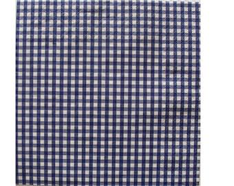 Set of 3 dark blue HOD086 gingham paper napkins