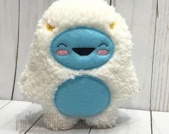 Yeti Stuffie, Yeti Stuffed Animal, Yeti, Machine Embroidered Yeti Doll, Embroidered Yeti Stuffie, Embroidered Yeti, Abominable Snowman