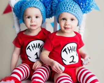 Halloween Costume thing costumes Costumes for kids Dr. Suess Inspired Thing 1  sc 1 st  Etsy & Twin Thing 1 u0026 Thing 2 Hat Set: storybooktwin
