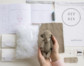 Mohair Elephant 7 Inches DIY Kit Stuffed Elephant Sewing Kit Stuffed Animals Soft Toys Craft Kit Artist Crafter Gift Ready To Ship