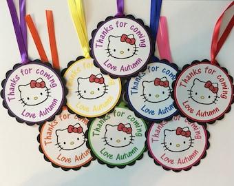Kitty Favor Tags/Hello Kitty Favor Tags/Hello Kitty Party Favor Tags/Hello Kitty Birthday Tags - Set of 12
