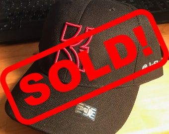 FlamerLid - Black, Fitted 7 3/4, Red Embroidered Logo