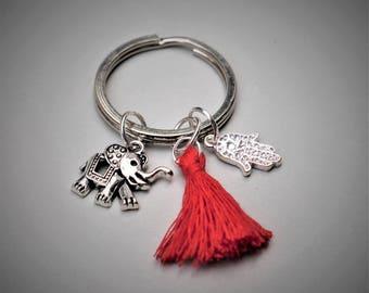 boho yoga keyring , elephant keyring, redtassel keyring, hamsa keyring, boho lover gift  keyring gift