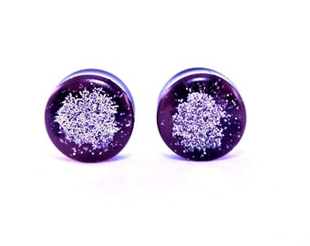 Personalized resin earring gauges plugs stretchers size of gauge - 20 mm   (P-41)color is more brown than purple