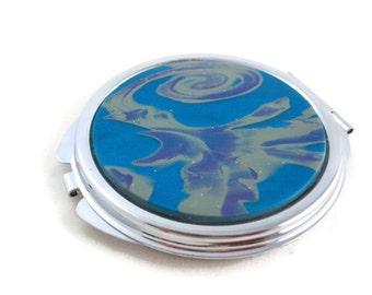 Unique Compact Mirror Blue Swirls Round Mirror for Purse
