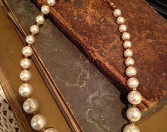 Repurposed Recycled Faux Pearl and Crystal Beaded Necklace