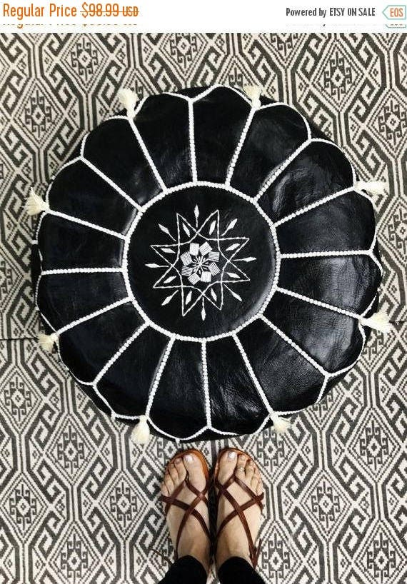 30% OFF Pouf Sale// Black with White Stitching Moroccan Leather Pouf with Tassels & Pompoms >> for Home gifts, wedding gifts,birthday gi