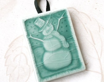 There's snow somewhere in the world right now  - Turquoise  - handmade ceramic tile ornament for your tree or gift package