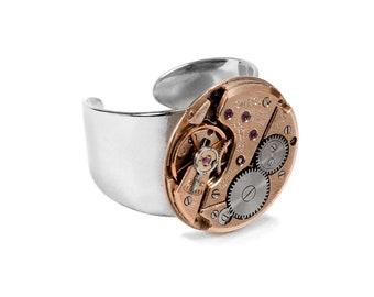Steampunk Jewelry Vintage OMEGA ROSE Gold Ring, Sleek Adjustable Band,Mens Womens, Boyfriend Girlfriend Gift STUNNING -Jewelry by edmdesigns