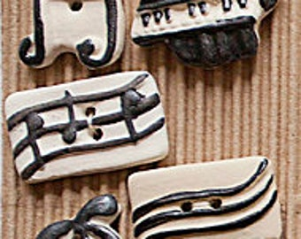 5 Music Theme Buttons, Music Note Button, Piano Button, Treble Clef Button, ButtonMad, Incomparable Buttons, Fully Washable L210
