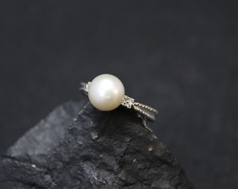 Sterling Silver Pearl Ring with CZ Accents, Delicate Sterling Silver Pearl Ring, Sterling Silver Pearl Jewelry, June Birthstone Ring