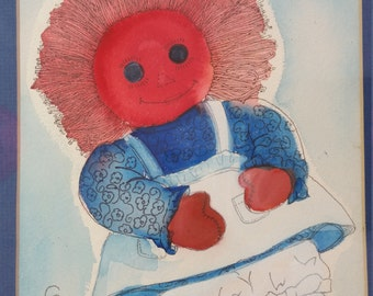 Signed Gerene 1977 Raggedy Ann Watercolor Artwork
