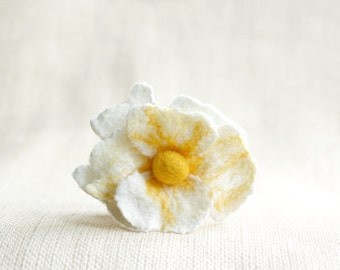 Tea rose pin felted flower brooch ruffled layered gift tender light yellow white - gifts under 25