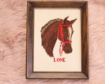 vintage cross stitch horse wall art . handmade framed horse decor, a horse named Lone