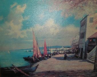 Vintage W. Richtner Print on Canvas/Titled Fishing Village/ Signed/Unframed