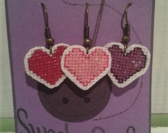 Cute Colorful Small Cross Stitch Heart Earrings - Red-Pink-Purple - Valentines Day Jewelry