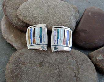 Champleve Enamel Clip-on Earrings