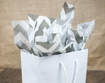 """Gray on White Chevron Tissue   96 Sheets   20"""" x 30"""" Size"""