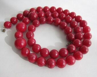 Long necklace marbled vintage bakelite cherry.