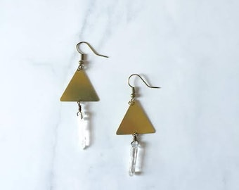 Triangle and Quartz dangle earrings, Quartz earrings, Triangle earrings, Drop earrings, Geometric earrings