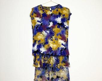 Extravagant vintage dress 36-38, layered look, S-m