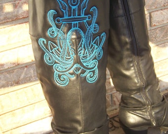 Kraken Embroidered Boots--ReWorked Boots--Upcycled Boots