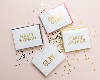 Slay, Fierce As Fuck, Get It Girl, Nasty Woman Foil Stamped Greeting Card with Envelope, 1 CT.