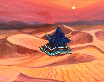 "Dancer on the Dunes-Acrylic on Canvas-Modern,Bright, Colorful,Contemporary,Landscape 24""x18"""