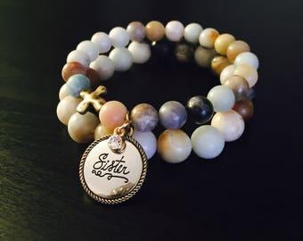 SISTER Charm Bracelet Set