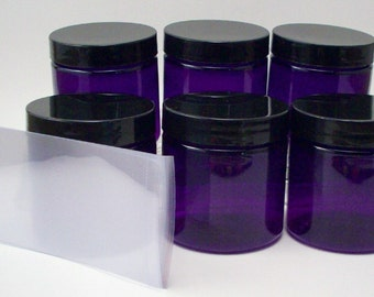 4 Ounce Purple Jars with Black Lined Caps and Shrink Bands - PET Plastic Bath and Body Containers for Creams and Body Butters