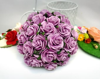 25 pcs. sweet lilac Rose Mulberry Paper Flower Craft Handmade Wedding 20 mm Scrapbook #188