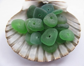 Sea Glass Drilled, Jewelry Supply, Bulk Green Beach Glass, Center Drilled Glass, Genuine Beach Glass, Seaglass Lot, Bulk Beach Glass
