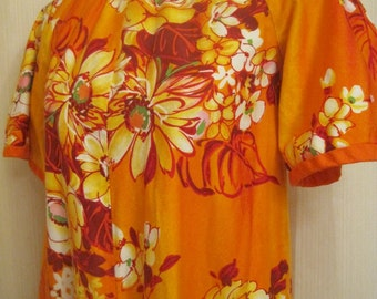 Vintage Hawaiian Orange Maxi Dress